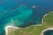 Aerial photograph of submerged stone field boundaries on Samson Flats, Isles of Scilly. 